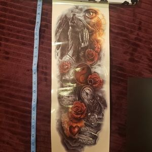 BOGO Temporary tattoo wolf roses
